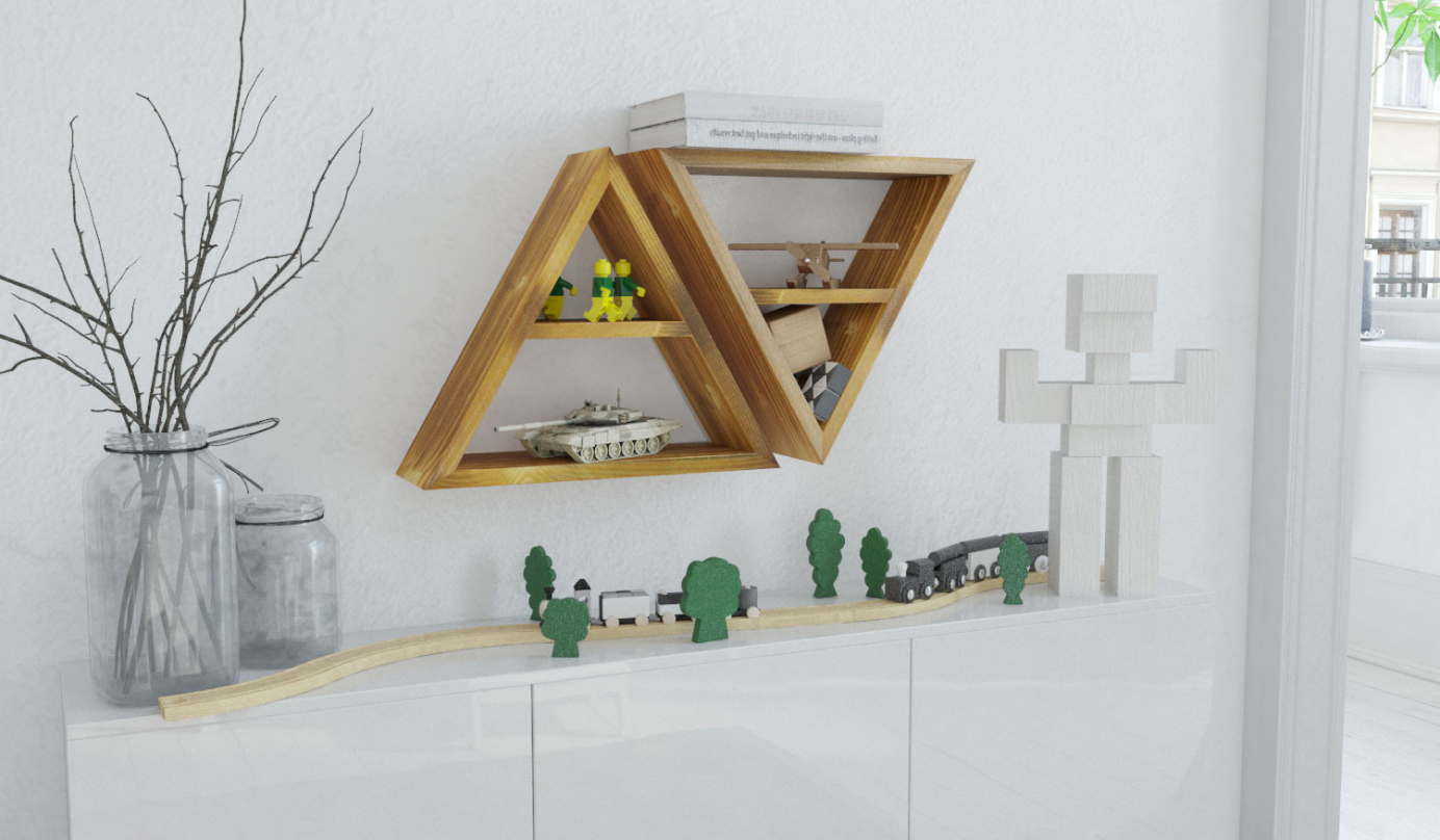 Półka loft drewniany trójkąt